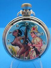 "VINTAGE...""EROTIC BLACK AMERICANA SEX SCENE""  AUTOMATON POCKET WATCH"" U.K. Made"