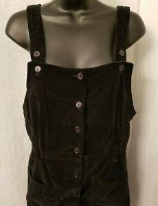 Gloria Vanderbilt Womens Black Velor FEEL Button Down Overall Dress Size M