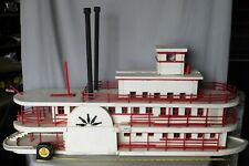 Large Antique vtg sidewheel steamboat ferry model painted wooden c. 1925 painted