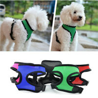 Adjustable Soft Mesh Fabric Dog Puppy Pet Padded Harness Vest Lead Leash Clip uk