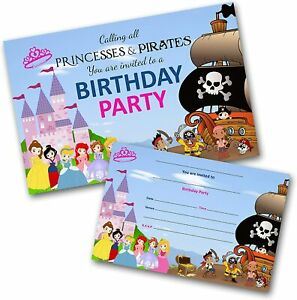 Princess and Pirate Party Invitations Birthday Invites WRITE ON