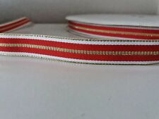 "2 yards 16mm (5/8"") wide  XMAS RED/WHITE/GOLD WOVEN STRIPE DOUBLE SIDED RIBBON"