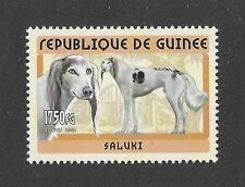 Rare Dog Art Head Full Body Portrait Postage Stamp Parti Saluki Guinea 2002 Mnh
