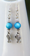 Cute Mother of Pearl silver tone Fish charm Earrings silver hooks  new handmade