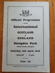 1935 - Scotland 🏴 v England 🏴 Programme