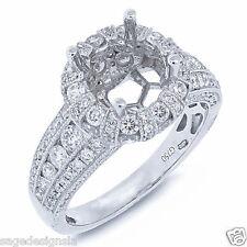 18K White Gold Round Semi Mount Diamond Engagement Ring Setting Crown Antique