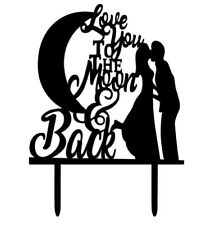 BLACK WEDDING CAKE TOPPER-LOVE YOU TO THE MOON AND BACK SILHOUETTE-ENGAGEMENT