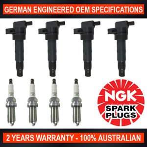 4x Genuine NGK Spark Plugs & 4x Ignition Coils for Kia Sorento XM