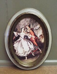 ~ VINTAGE ITALIAN OVAL VICTORIAN COUPLE PICTURE O.F.M. TRADEMARK MADE IN ITALY ~