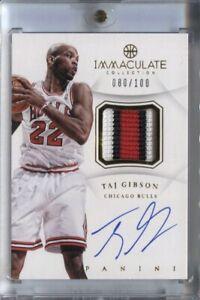 TAJ GIBSON 2012-13 IMMACULATE COLLECTION BASKETBALL #AP-GI PATCH AUTO 080/100