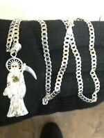 925 sterling silver santa muerte 20/inches  ,chain cuban big pendant