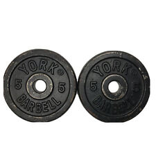 "2 Vintage York  5 Lb Barbell Weight Plates Standard 1"" Hole Total of 10 Lb"