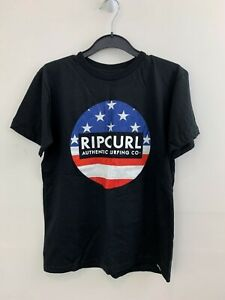 LikeNew Men's RIPCURL Black Tee with Distressed Logo Motif sz S Men [dc rip curl