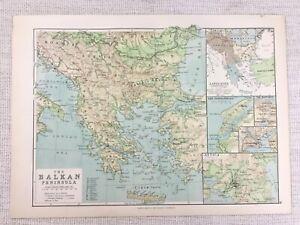1894 Antique Map of The Balkans Balkan Peninsula Attica Dardanelles 19th C