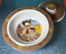 Sugar Booger Spill Proof Baby Toddler Bowl Lid Cowboy Horse Yee Haw Design