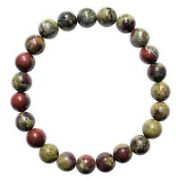 CHARGED Dragon's Blood Jasper 8mm Bead Bracelet Tumble Polished Stretchy REIKI
