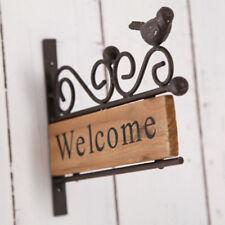 Metal Welcome Plaque Sign Bird Wood Retro Shabby House Restaurant Bar Door Decor