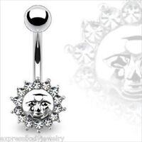 Navel Belly Button Ring 14g Clear Multi Gem CZ Sun Astrology Magic Theme
