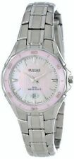 PULSAR PXT899 WOMEN'S DRESS PINK CERAMIC BEZEL MOTHER OF PEARL DIAL DATE WATCH