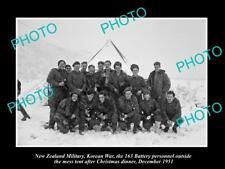 Old Large Historic Photo Of Korean War, New Zealand 163 Battery At Xmas c1951