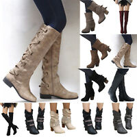 Womens Mid Calf Knee High Boots Flat Shoes Winter Party Chunky Low Block Heel US
