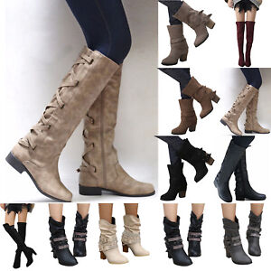 Womens Block Heel Knight Boots Knee High Wide Calf Boots Winter Ankle Booties