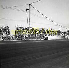 Front Engine Dragster Starting Line Burnout - Vintage Drag Race Negative