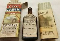 RARE SMALL WARNER'S LOG CABIN EXTRACT BOTTLE w/ ORIGINAL COLORFUL BOX & BOOKLETS
