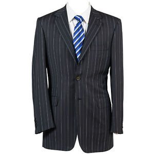 NWT $6579 Brioni Navy Stripe 100% Wool Suit w/ Pants 48 (EU) 38 (US)
