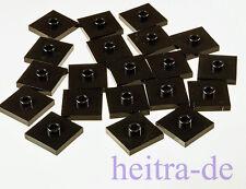 LEGO - 20 x Fliese 2x2 mit Noppen in der Mitte schwarz / 87580 NEUWARE