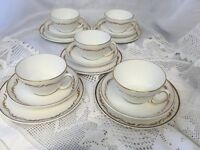 Elegant Royal Stafford Vintage White Gilded English Bone China Tea Set 5 X Trio