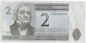 Estonia 2 Krooni Banknote Date 2007