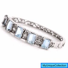 Antique Diamond 10.40ct Aquamarine 14K Gold Bangle Bracelet 22.0 Grams