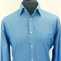 Moss Esq Mens Casual Shirt 17 XL Long Sleeve Blue Regular Fit Cotton