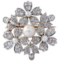 Victorian GIA Certified Natural Pearl Old Mine Cut Diamond Brooch Pin