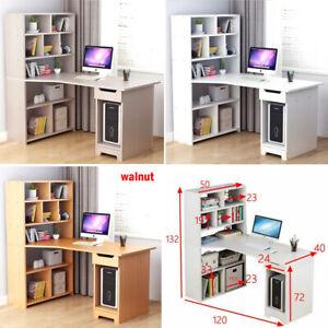 Computer Desk With Bookshelf Drawer Shelves Corner PC Table Office Workstation