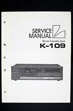 Luxman K-109 Original stéréo cassette deck Manuel de service / AMPLIFICATEUR
