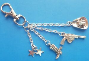 Cowboy-Western Themed Keyring with Hat-Gun-Boot and Star Charms Gift Bagged
