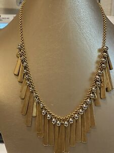 """""""J. CREW"""" GOLD TONE CHAIN GOLD+SILVER TONE BEADED STATEMENT NECKLACE"""