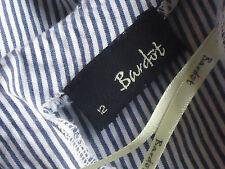 BARDOT BlueWhiteStriped100%CottonFlaredS/slvKeyholeSz12