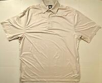Men's Footjoy Golf STRETCH Beige Tan White Short Sleeve Polo Shirt   SIZE XL