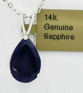 GENUINE 5.30 Cts BLUE SAPPHIRE PENDANT 14K WHITE GOLD * Free Appraisal Service *