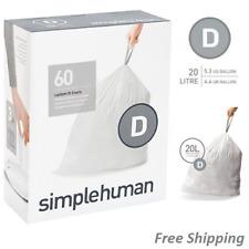 simplehuman Code D Custom Fit Liners, Drawstring Trash Bags, 20 Liter / 5.2 Gall