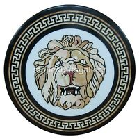 "24"" Marble Coffee Table Top Mosaic Handmade Lion Art Cafeteria & Home Décor B232"