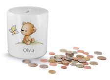 Personalised kids childrens money box in teddy bear design - gift present idea