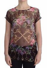 NWT DOLCE & GABBANA Black Key Floral Print Silk Blouse T-shirt IT44/ US10/L