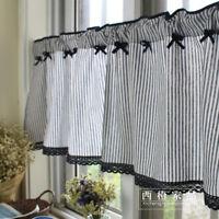 Mediterranean French Country Navy Stripe Kitchen Cafe Curtain Tier Valance