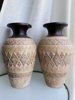 "2 VTG Hand-thrown Art pottery Stoneware 14"" Textured Heavy Amphora large Vases"