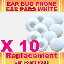 10 x White Replacement EarBud Ear Phone Foam Pad Sponge iPod Touch Nano iPad PDA