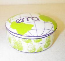 """TIFFANY CO 2008 EMA GLOBE ENVIRONMENTAL MEDIA AWARD PORCELAIN TRINKET BOX 4"""" EUC"""